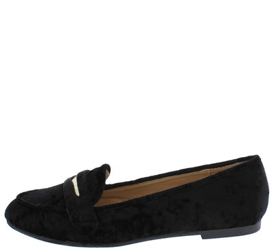Brooklyn217 Black Velvet Metallic Laser Cut Loafer Flat - Wholesale Fashion Shoes