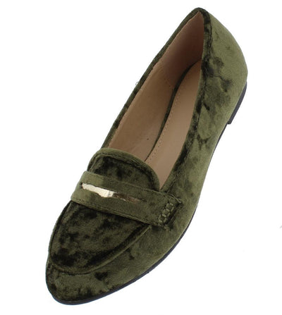 Brooklyn217 Olive Velvet Metallic Laser Cut Loafer Flat - Wholesale Fashion Shoes