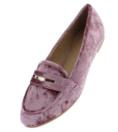 Brooklyn217 Pink Velvet Metallic Laser Cut Loafer Flat - Wholesale Fashion Shoes