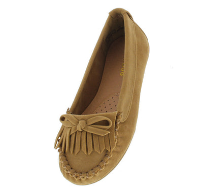 Liberty01k Natural Moccasin Kids Flat - Wholesale Fashion Shoes