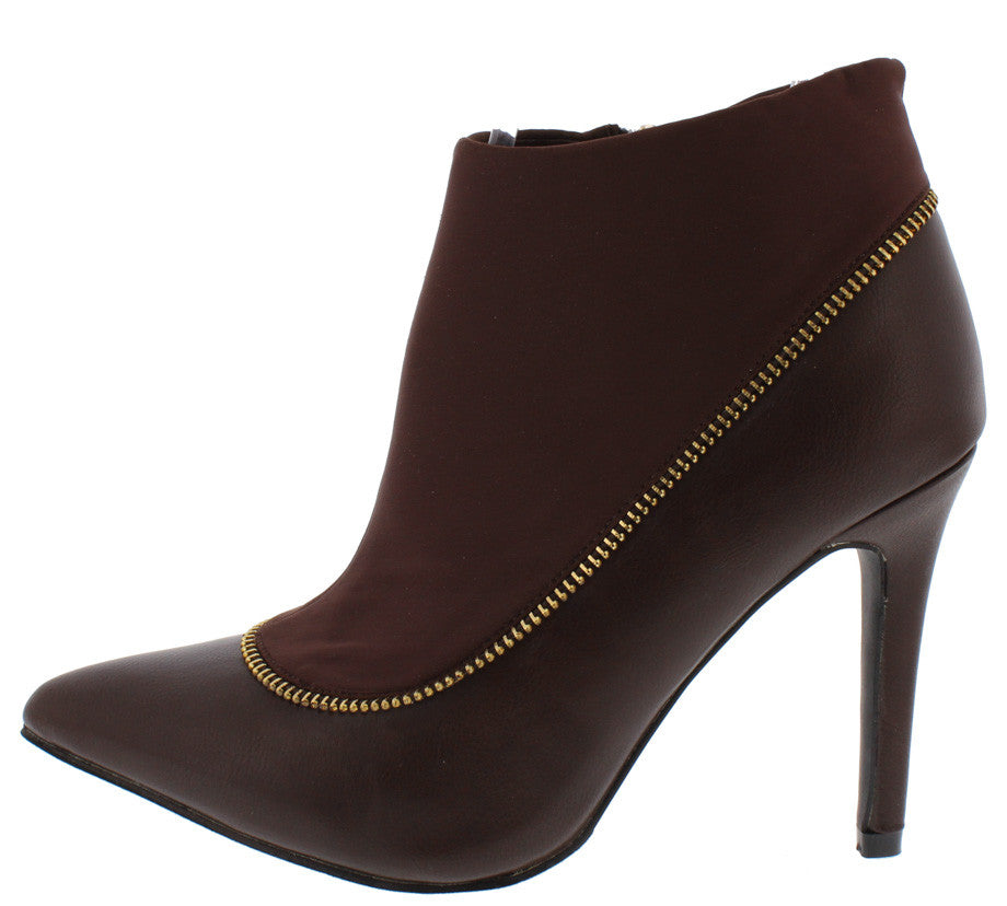 LIBERTY116 BROWN DUAL MATERIAL ZIPPER EMBELLISHED ANKLE BOOT