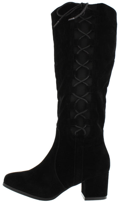 Lida10 Black Elastic Lace Up Low Chunky Heel Knee High Boot - Wholesale Fashion Shoes