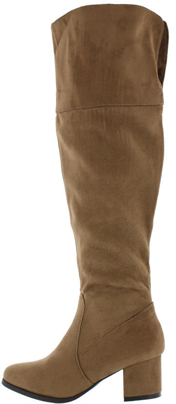 Lidia03 Taupe Chunky Heel Plunge Knee High Boot - Wholesale Fashion Shoes