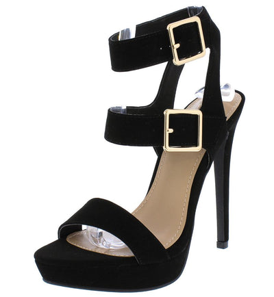 Ligia06 Black Dual Ankle Strap Open Toe Cut Out Stiletto Heel - Wholesale Fashion Shoes