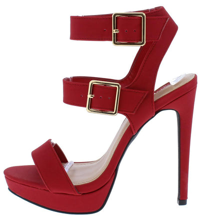 Ligia06 Red Dual Ankle Strap Open Toe Cut Out Stiletto Heel - Wholesale Fashion Shoes