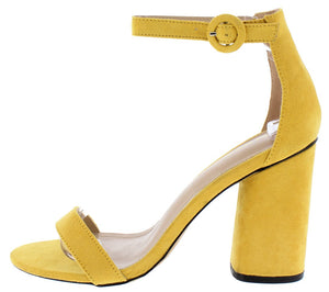 61686ac8076 Lili Mustard Open Toe Ankle Strap Chunky Block Heel - Wholesale Fashion  Shoes