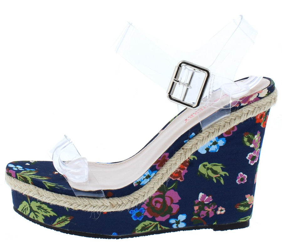 0b6a0fe91b20db Lilly01 Blue Floral Print Lucite Braided Hemp Accent Wedge - Wholesale  Fashion Shoes