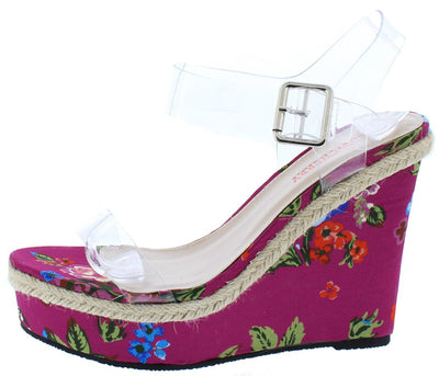 Lilly01 Fuchsia Floral Print Lucite Braided Hemp Accent Wedge - Wholesale Fashion Shoes