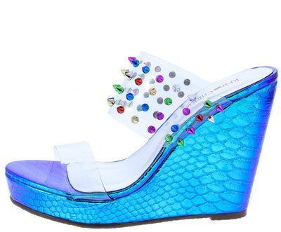Lilly02 Blue Holographic Multi Stud Lucite Mule Wedge - Wholesale Fashion Shoes