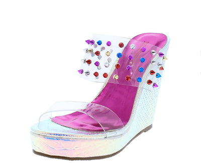 Lilly02 Silver Holographic Multi Stud Lucite Mule Wedge - Wholesale Fashion Shoes