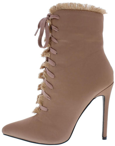 Lilly Blush Frayed Lace Up Stiletto Ankle Boot - Wholesale Fashion Shoes