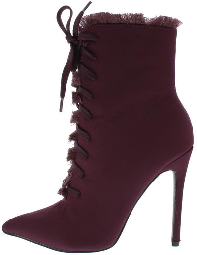 Lilly Wine Frayed Lace Up Stiletto Ankle Boot - Wholesale Fashion Shoes