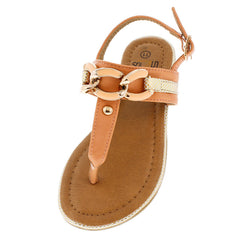 LILY01 PEACH CHAINED SNAKESKIN KIDS SANDAL - Wholesale Fashion Shoes