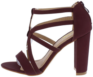 6fc6c491ce26 Lily12 Wine Nubuck Strappy Cut Out Open Toe Chunky Heel - Wholesale Fashion  Shoes