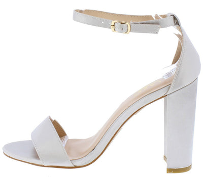 Lily1 Silver Satin Open Toe Ankle Strap Chunky Heel - Wholesale Fashion Shoes