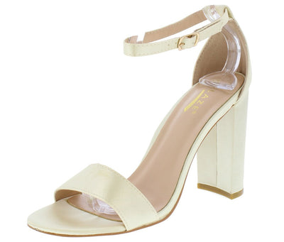 Lily1 Champagne Satin Open Toe Ankle Strap Chunky Heel - Wholesale Fashion Shoes