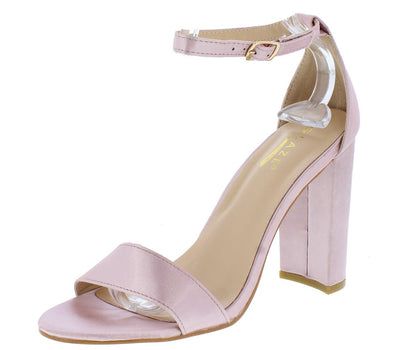 Lily1 Mauve Satin Open Toe Ankle Strap Chunky Heel - Wholesale Fashion Shoes