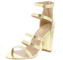 LILY2 GOLD OPEN TOE STRAPPY CHUNKY  HEEL - Wholesale Fashion Shoes