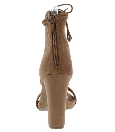 Limelight79s Camel Open Toe Ankle Lace Up Block Heel - Wholesale Fashion Shoes