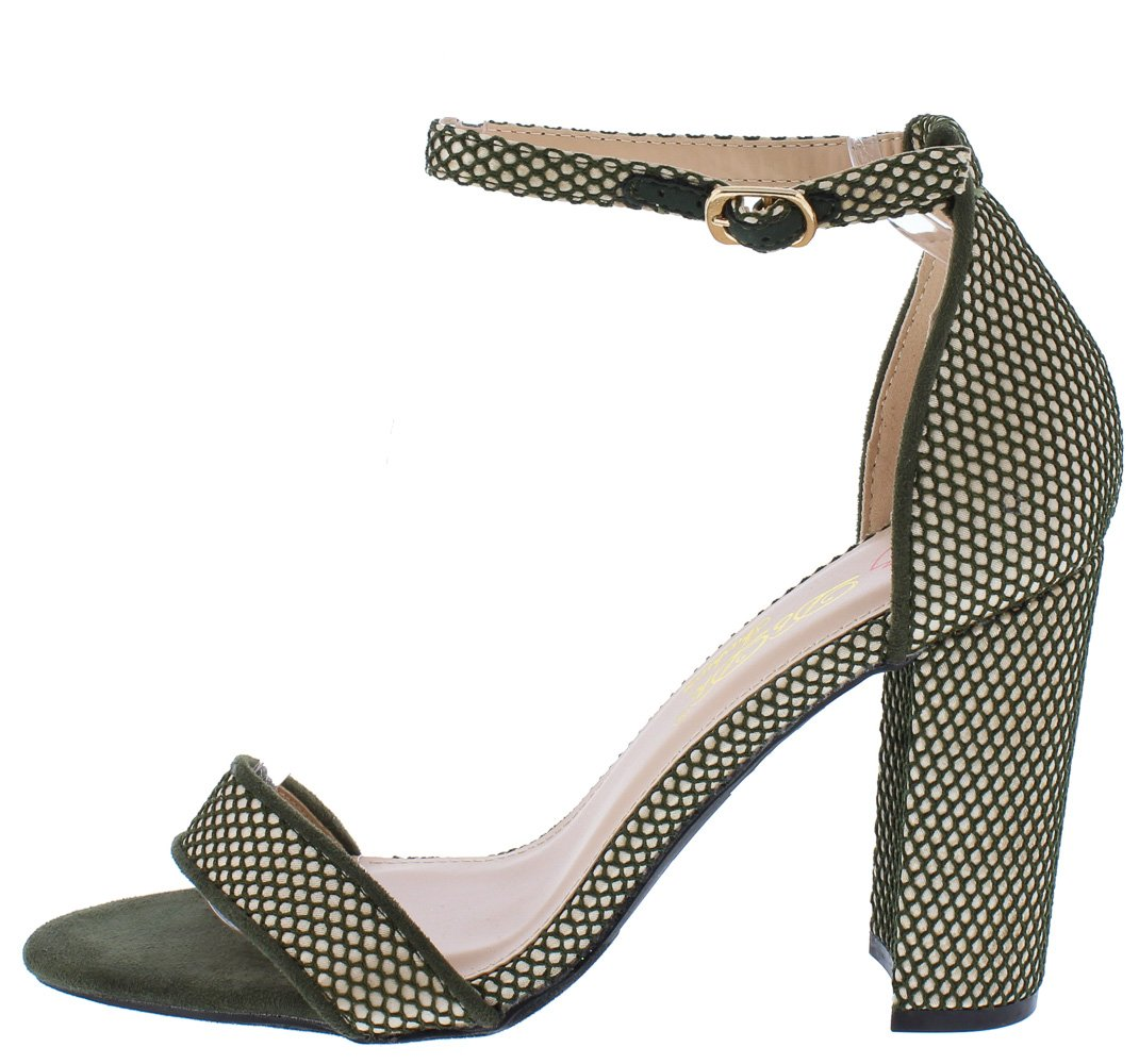 6dced47c90d Lind1 Olive Fishnet Open Toe Ankle Strap Tall Chunky Heel - Wholesale  Fashion Shoes