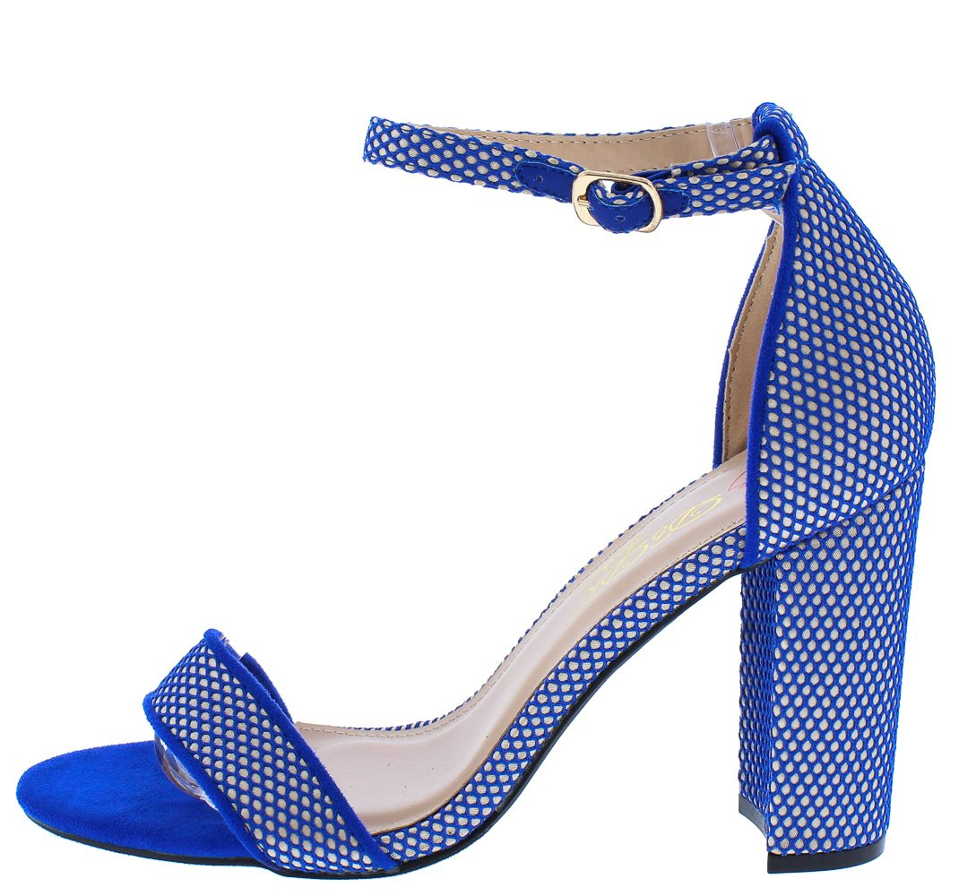 0b056718691 Lind1 Royal Blue Fishnet Open Toe Ankle Strap Tall Chunky Heel - Wholesale Fashion  Shoes