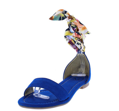 Linda Blue Open Toe Printed Fabric Ankle Wrap Sandal - Wholesale Fashion Shoes