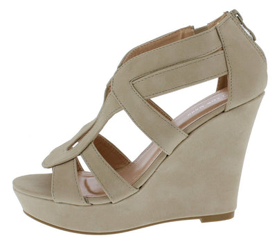 Lindy3 Beige Cut Out Open Toe Platform Wedge - Wholesale Fashion Shoes