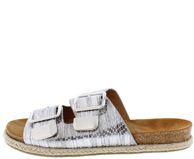 Linear01 Silver Snake Hemp Braid Slide on Cork Sandal - Wholesale Fashion Shoes