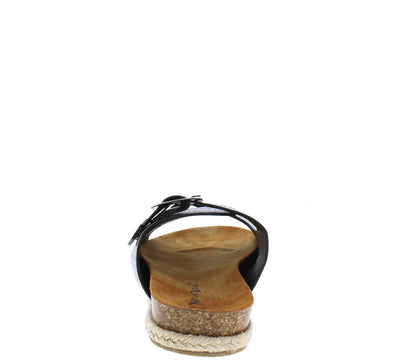 Linear01 Black Snake Hemp Braid Slide on Cork Sandal - Wholesale Fashion Shoes