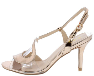 bdeee8653f2 Lita59x Rose Gold Metallic Clear Peep Toe Wrap Strap Slingback Heel -  Wholesale Fashion Shoes