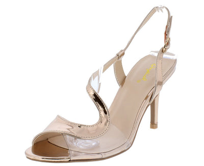 Lita59x Rose Gold Metallic Clear Peep Toe Wrap Strap Slingback Heel - Wholesale Fashion Shoes