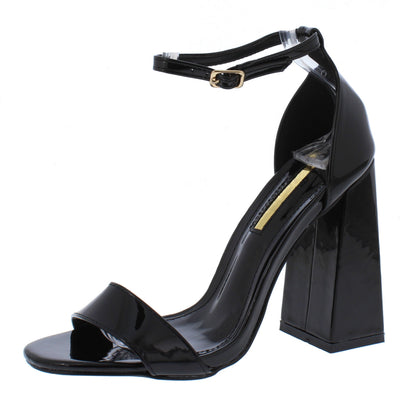 Jessica136 Black Open Toe Ankle Strap Tapered Block Heel - Wholesale Fashion Shoes