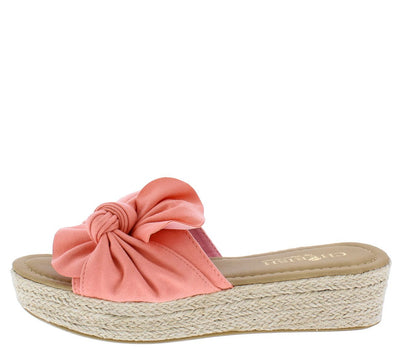 Lizia8 Pink Knotted Open Toe Mule Espadrille Sandal - Wholesale Fashion Shoes