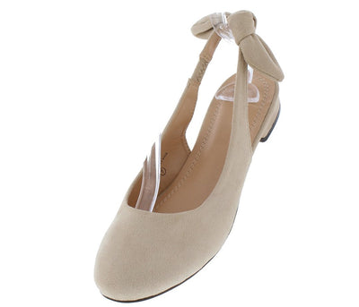 Madeline264 Nude Round Toe Knotted Singback Flat - Wholesale Fashion Shoes