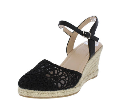 Locman Black Lace Almond Toe Slingback Espadrille Wedge - Wholesale Fashion Shoes
