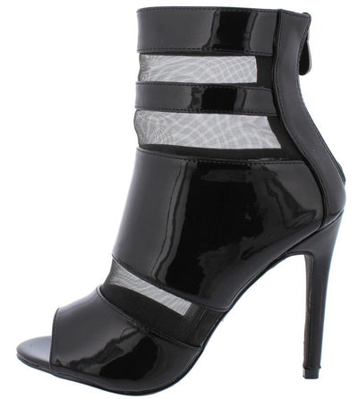 Lola12 Black Open Toe Mesh Cutout Stiletto Heel - Wholesale Fashion Shoes
