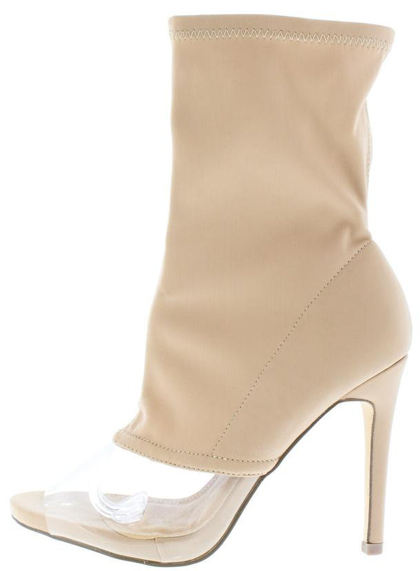 2bb7995ab3e Lola18 Nude Clear Peep Toe Sock Fit Ankle Boot