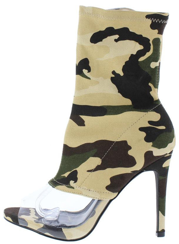 3a78c07ef89 Lola18 Camo Clear Peep Toe Sock Fit Ankle Boot