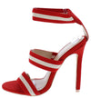 Loly Red Tri Strap Open Toe Pull On Stiletto Heel - Wholesale Fashion Shoes