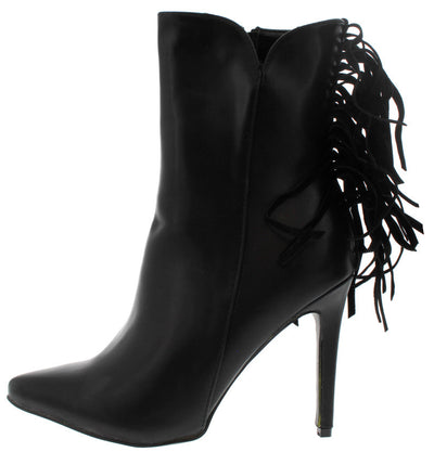 London1 Black Fringe Pointed Toe Boot - Wholesale Fashion Shoes