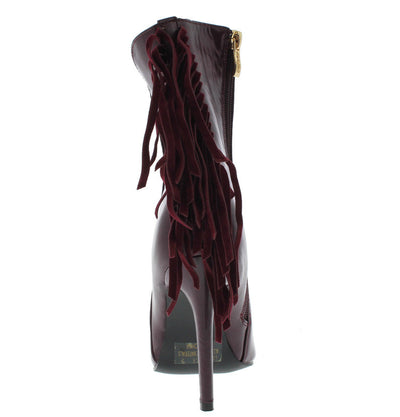 London1 Wine Fringe Pointed Toe Boot - Wholesale Fashion Shoes