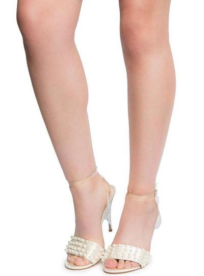 London3 Nude Open Toe Pearl Stud Back Cross Strap Lucite Heel - Wholesale Fashion Shoes