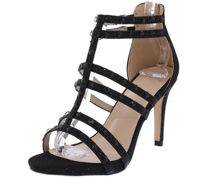 Katia34 Black Shimmer Open Toe Sparkle Studded Strappy Heel - Wholesale Fashion Shoes