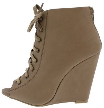 Lorelei12a Taupe Open Toe Lace Up Wedge Ankle Boot - Wholesale Fashion Shoes