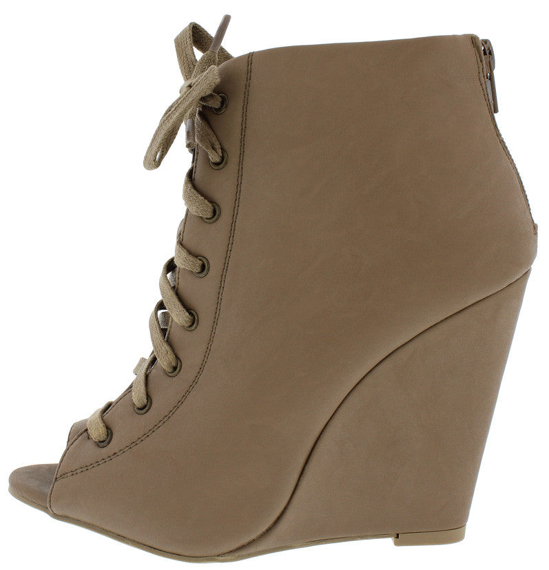 3422ac04d93 Lorelei12a Taupe Open Toe Lace Up Wedge Ankle Boot