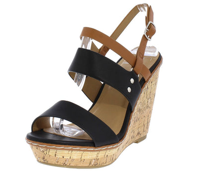 Loren Black Light Tan Open Toe Slingback Cork Wedge - Wholesale Fashion Shoes