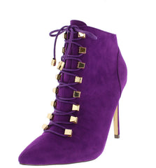 ELEANOR5 PURPLE SUEDE LACE UP POINTED TOE BOOT - Wholesale Fashion Shoes