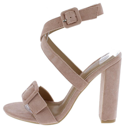 Lorina Blush Buckle Open Toe Cross Front Ankle Strap Heel - Wholesale Fashion Shoes