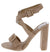 Lorina Nude Buckle Open Toe Cross Front Ankle Strap Heel