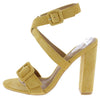Lorina Yellow Buckle Open Toe Cross Front Ankle Strap Heel - Wholesale Fashion Shoes